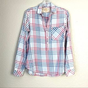 BELLA DAHL Tencel Pink & Blue Checkered Shirt (XS)